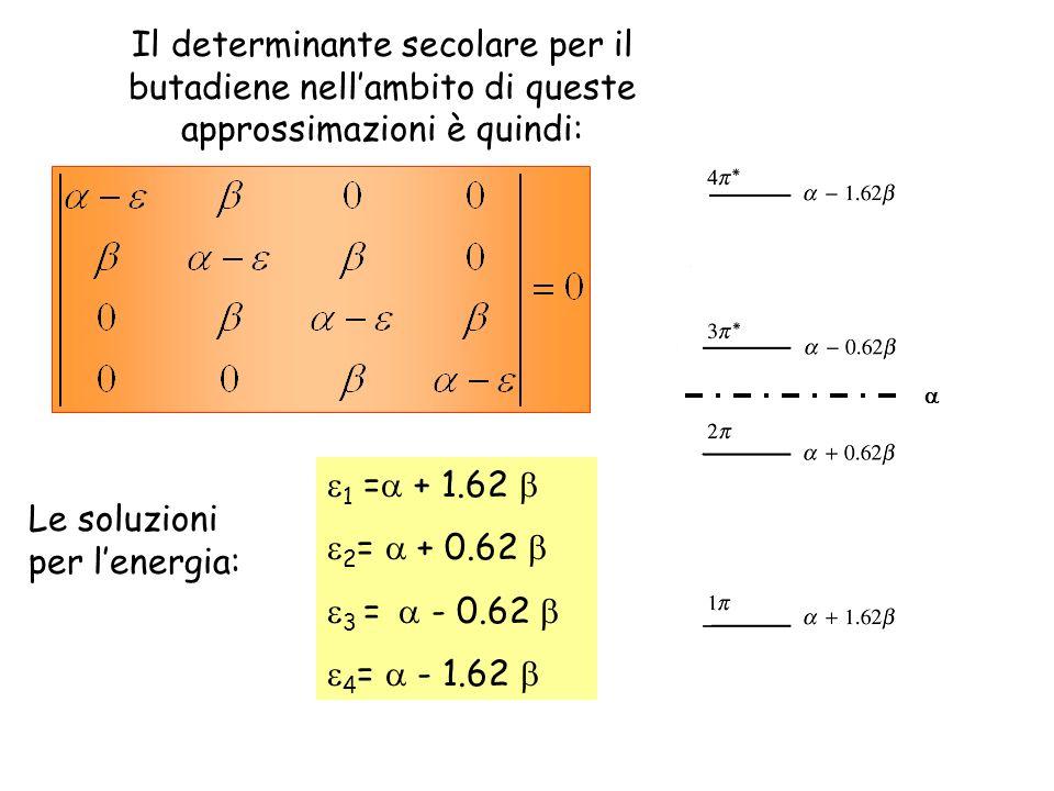 Il determinante secolare per il butadiene nellambito di queste approssimazioni è quindi: 1 = + 1.62 2 = + 0.62 3 = - 0.62 4 = - 1.62 Le soluzioni per