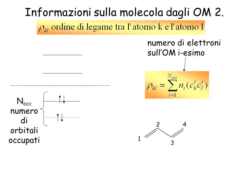 Informazioni sulla molecola dagli OM 2. 4 3 1 2 N occ numero di orbitali occupati numero di elettroni sullOM i-esimo