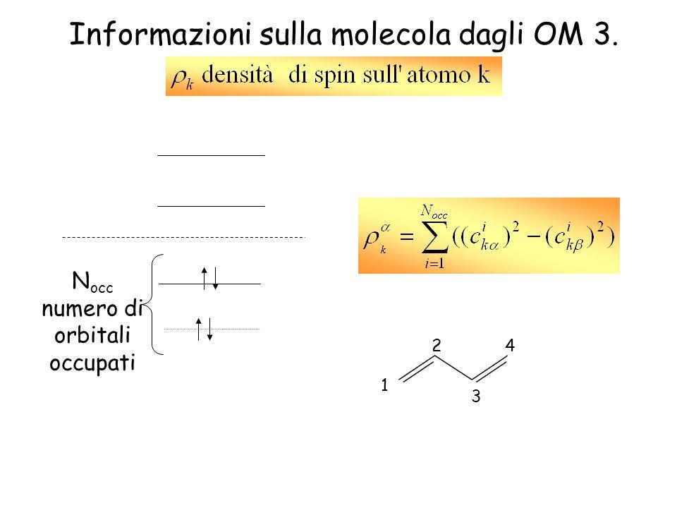 Informazioni sulla molecola dagli OM 3. 4 3 1 2 N occ numero di orbitali occupati
