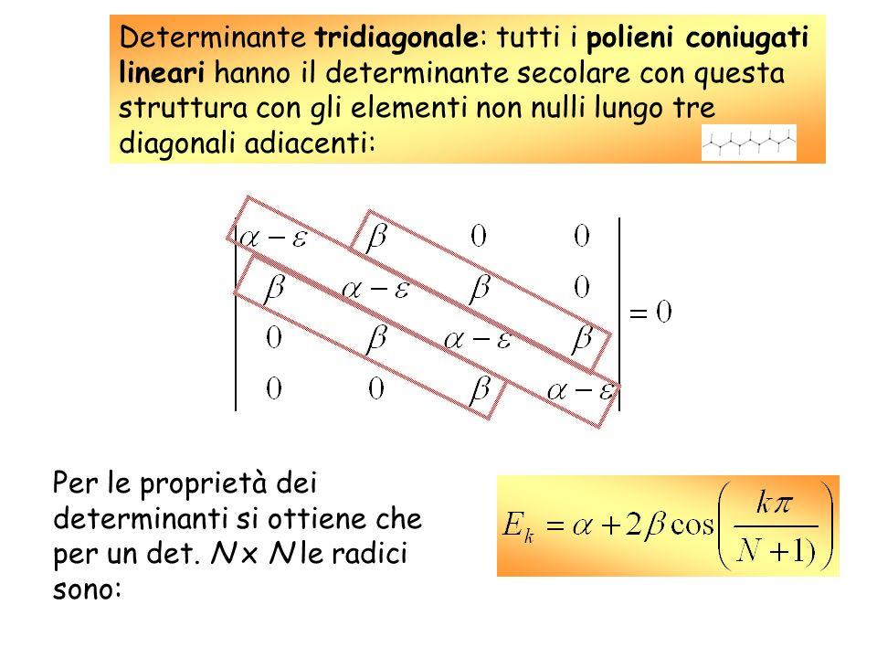 Determinante tridiagonale: tutti i polieni coniugati lineari hanno il determinante secolare con questa struttura con gli elementi non nulli lungo tre