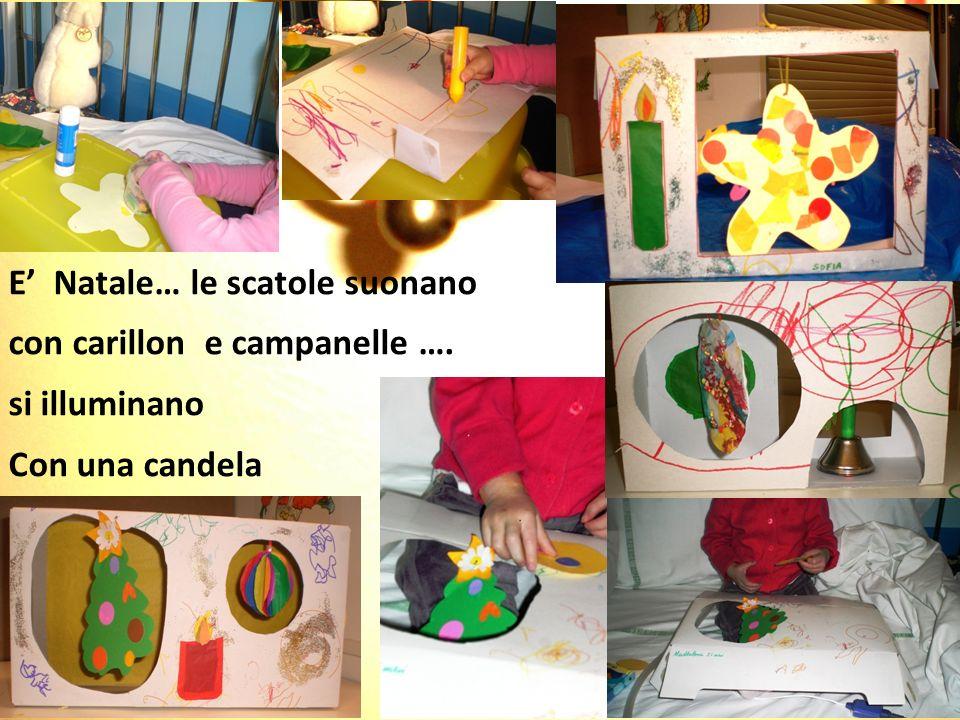 E Natale… le scatole suonano con carillon e campanelle …. si illuminano Con una candela