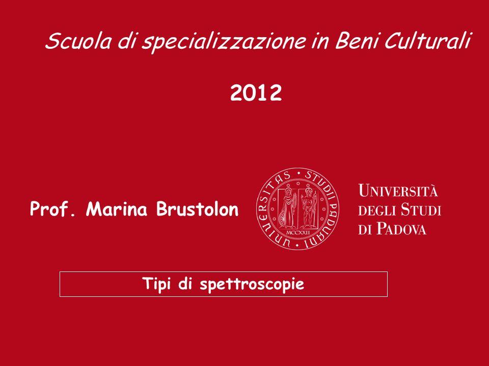 Prof. Marina Brustolon Tipi di spettroscopie Scuola di specializzazione in Beni Culturali 2012