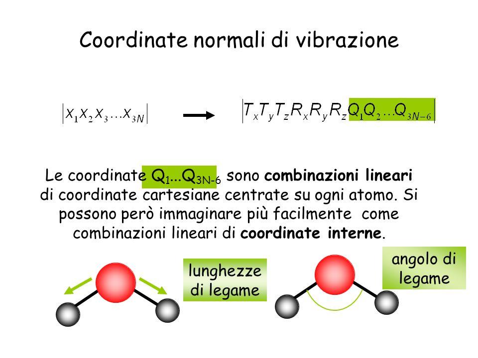 Coordinate normali di vibrazione Le coordinate Q 1...Q 3N-6 sono combinazioni lineari di coordinate cartesiane centrate su ogni atomo. Si possono però