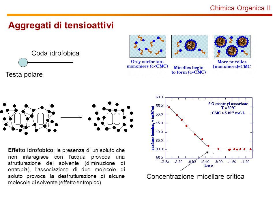 Chimica Organica II Aggregati di tensioattivi Testa polare Coda idrofobica Concentrazione micellare critica Effetto idrofobico: la presenza di un solu