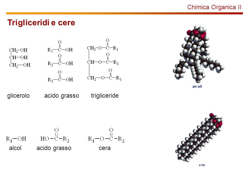 Chimica Organica II Trigliceridi e cere gliceroloacido grassotrigliceride alcol acido grassocera