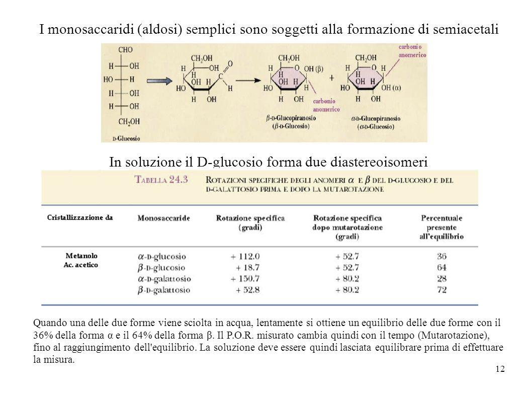 12 I monosaccaridi (aldosi) semplici sono soggetti alla formazione di semiacetali In soluzione il D-glucosio forma due diastereoisomeri Quando una del