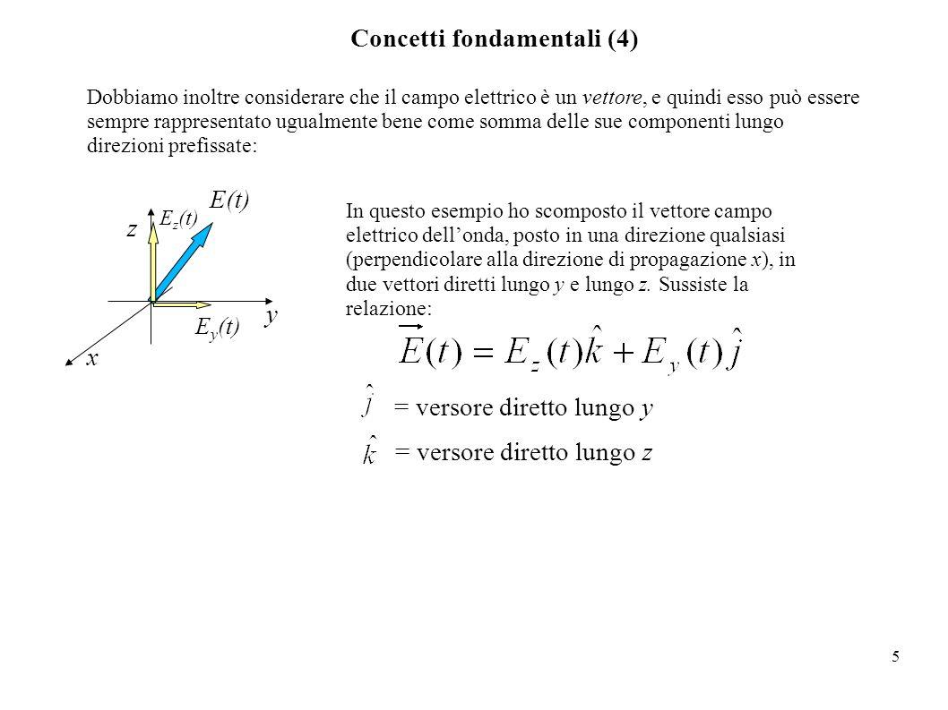 5 Concetti fondamentali (4) Dobbiamo inoltre considerare che il campo elettrico è un vettore, e quindi esso può essere sempre rappresentato ugualmente