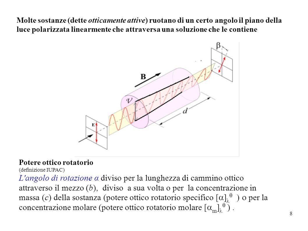 8 Molte sostanze (dette otticamente attive) ruotano di un certo angolo il piano della luce polarizzata linearmente che attraversa una soluzione che le