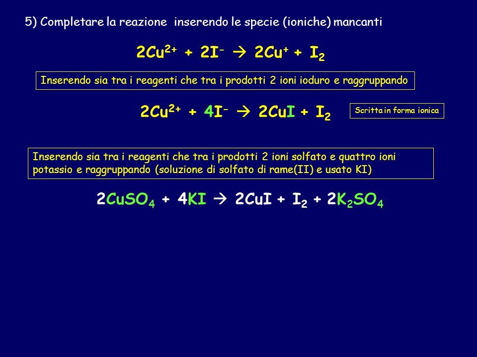 3-r) Bilanciamento della semireazione di riduzione Cu 2+ Cu + Cu 2+ + e Cu + 3-o) Bilanciamento della semireazione di ossidazione I - I 2 2I - I 2 2I