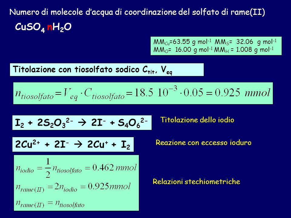 Numero di molecole dacqua di coordinazione del solfato di rame(II) CuSO 4 nH 2 O Se so la massa molare del composto posso calcolare il numero di molec