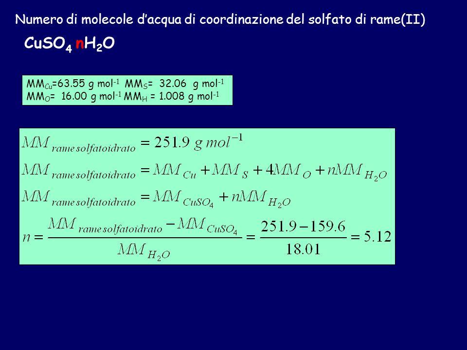 Numero di molecole dacqua di coordinazione del solfato di rame(II) CuSO 4 nH 2 O Pesati 0.233 g di sale idrato