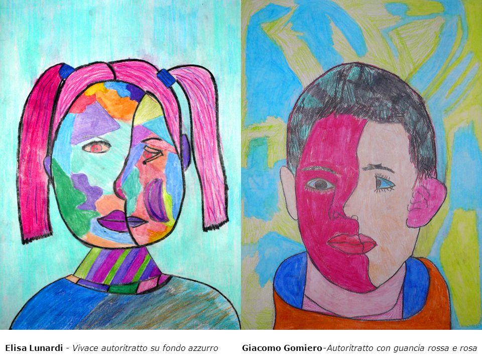 Giacomo Gomiero - Autoritratto con guancia rossa e rosaElisa Lunardi - Vivace autoritratto su fondo azzurro