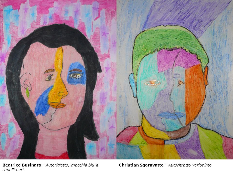 Beatrice Businaro - Autoritratto, macchie blu e capelli neri Christian Sgaravatto - Autoritratto variopinto