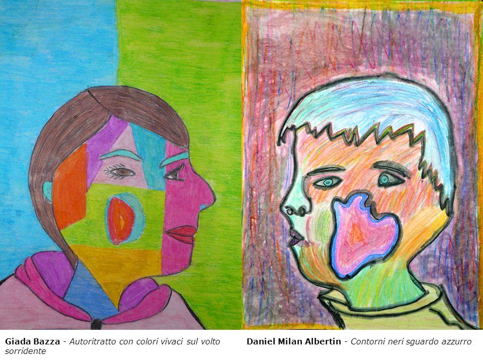 Giada Bazza - Autoritratto con colori vivaci sul volto sorridente Daniel Milan Albertin - Contorni neri sguardo azzurro
