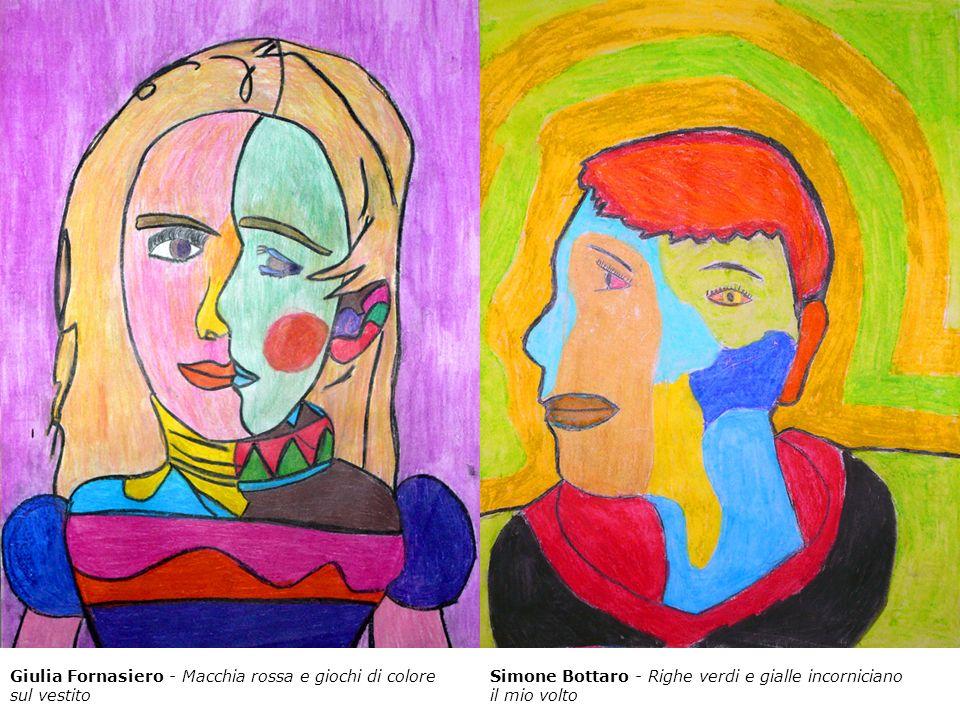 Giulia Fornasiero - Macchia rossa e giochi di colore sul vestito Simone Bottaro - Righe verdi e gialle incorniciano il mio volto
