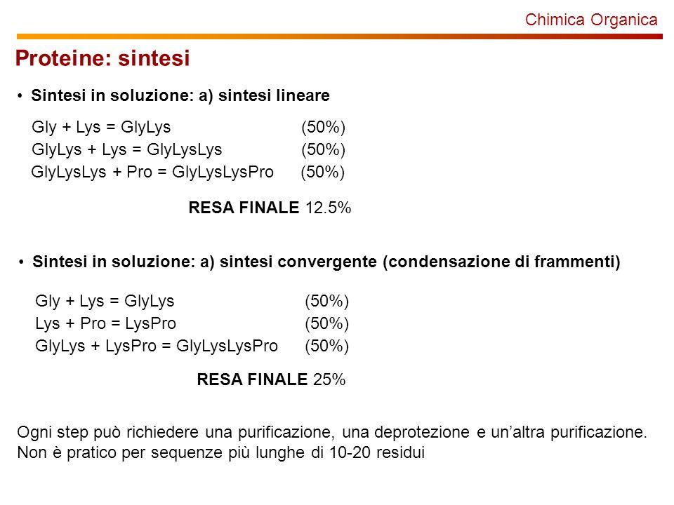 Chimica Organica Proteine: sintesi Sintesi in soluzione: a) sintesi lineare Gly + Lys = GlyLys(50%) GlyLys + Lys = GlyLysLys(50%) GlyLysLys + Pro = Gl