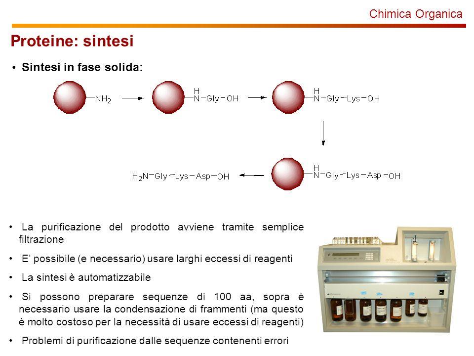 Chimica Organica Proteine: sintesi Sintesi in fase solida: La purificazione del prodotto avviene tramite semplice filtrazione E possibile (e necessari