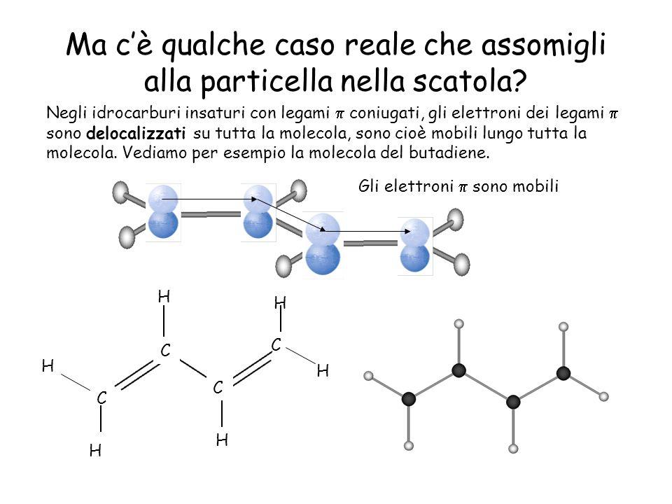 Ma cè qualche caso reale che assomigli alla particella nella scatola? Negli idrocarburi insaturi con legami coniugati, gli elettroni dei legami sono d