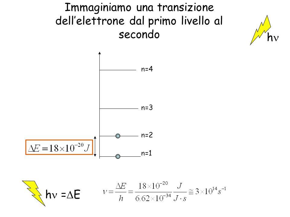 Immaginiamo una transizione dellelettrone dal primo livello al secondo n=4 n=3 n=2 n=1 h h = E