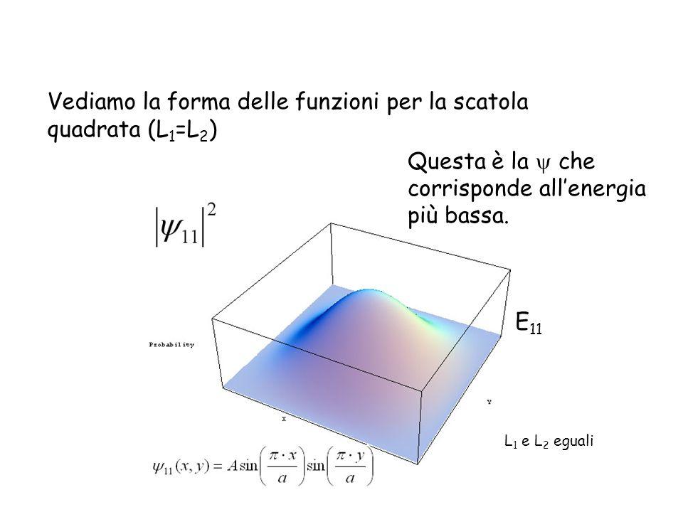 Vediamo la forma delle funzioni per la scatola quadrata (L 1 =L 2 ) Questa è la che corrisponde allenergia più bassa. E 11 L 1 e L 2 eguali