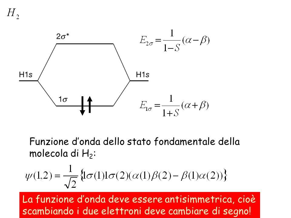 Funzioni spaziali e di spin è una funzione di singoletto (S tot =0).