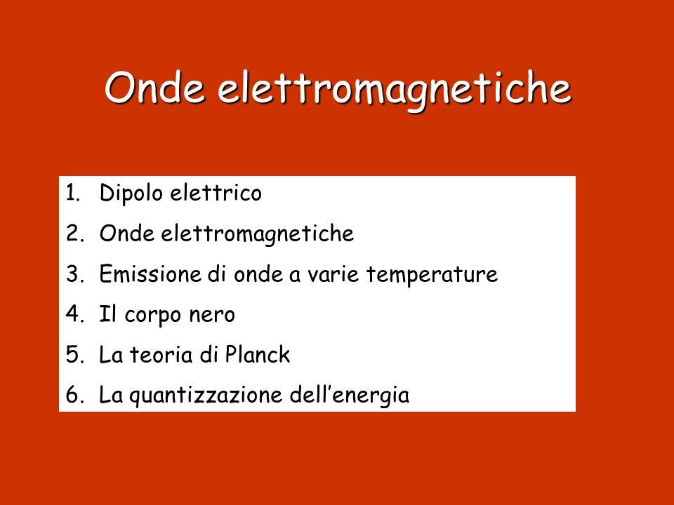Onde elettromagnetiche 1.Dipolo elettrico 2.Onde elettromagnetiche 3.Emissione di onde a varie temperature 4.Il corpo nero 5.La teoria di Planck 6.La