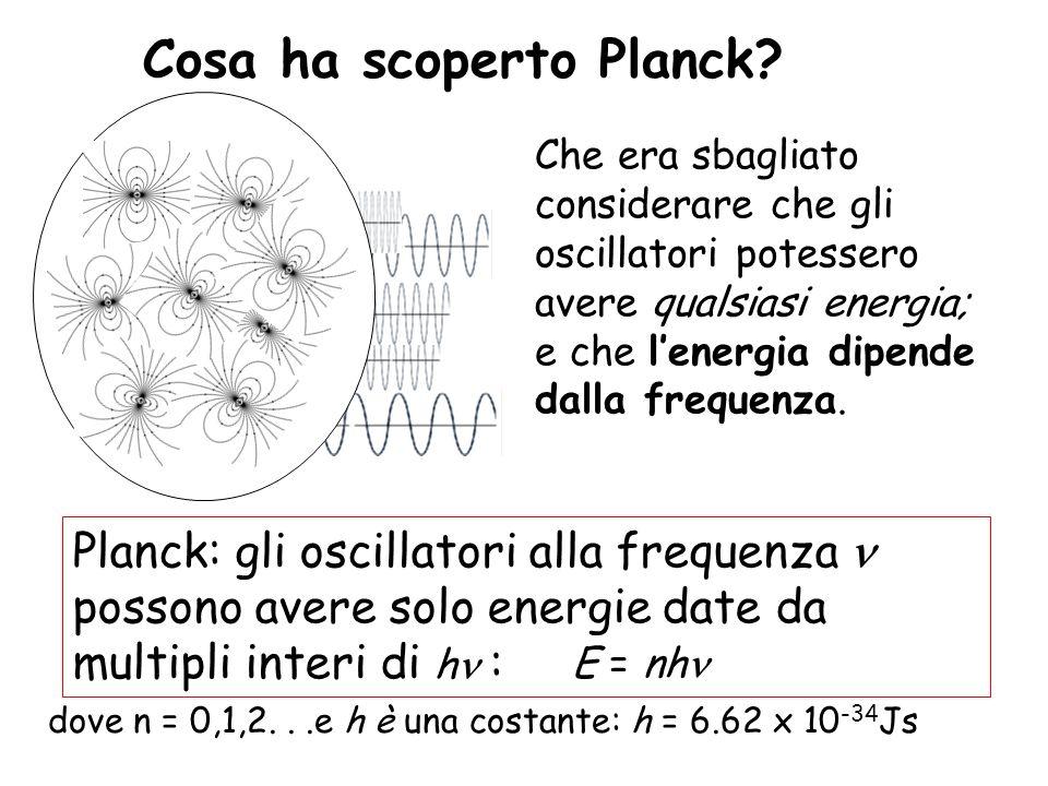 Cosa ha scoperto Planck? Planck: gli oscillatori alla frequenza possono avere solo energie date da multipli interi di h : E = nh dove n = 0,1,2...e h