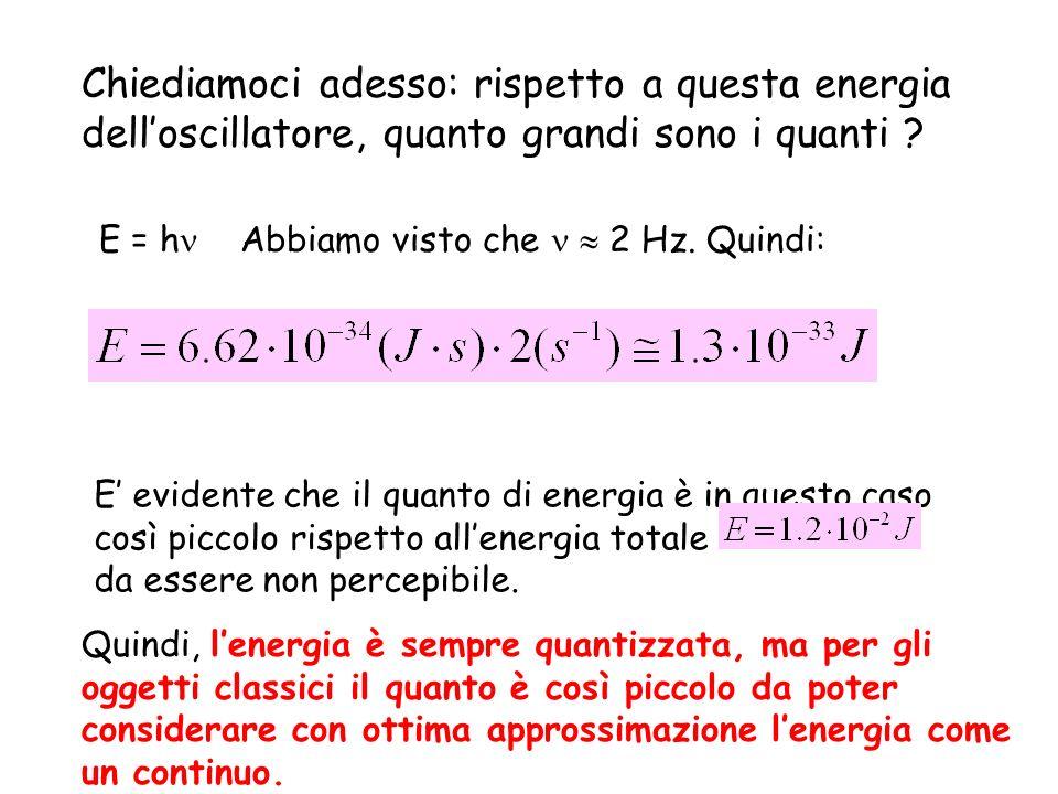 Chiediamoci adesso: rispetto a questa energia delloscillatore, quanto grandi sono i quanti ? E = h Abbiamo visto che 2 Hz. Quindi: E evidente che il q