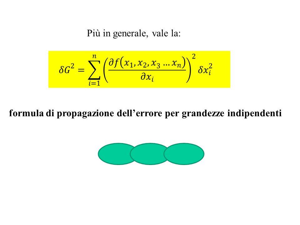Più in generale, vale la: formula di propagazione dellerrore per grandezze indipendenti