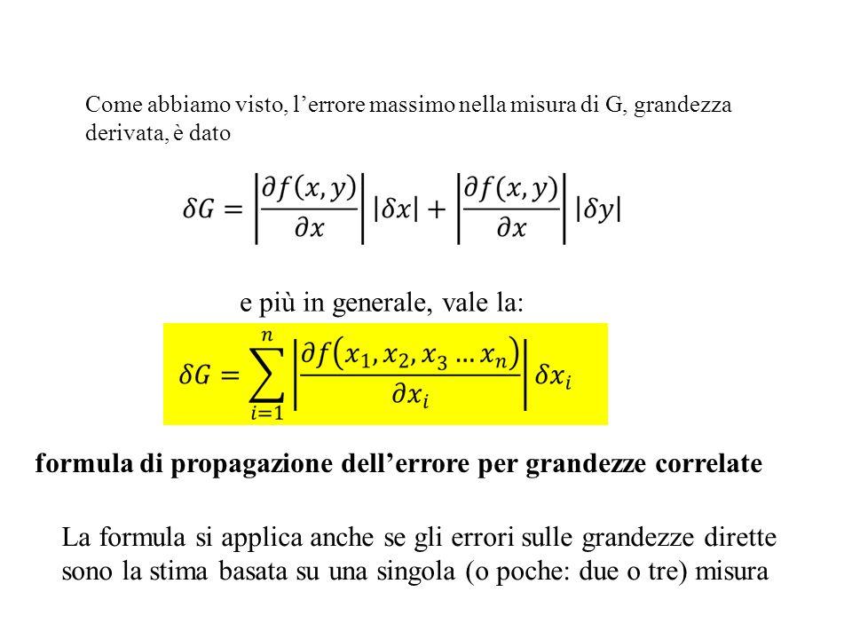 Come abbiamo visto, lerrore massimo nella misura di G, grandezza derivata, è dato e più in generale, vale la: formula di propagazione dellerrore per g