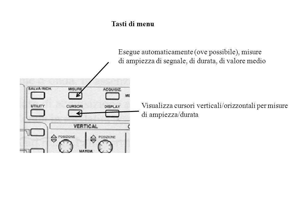 Sezione Trigger Livello del trigger: regola il voltaggio del segnale di trigger al quale ha luogo levento di spazzolamento Trigger esterno (Ext): ingresso per un segnale di trigger esterno Menu del trigger: permette di selezionare il tipo di trigger (INT, EXT o LINE), il tipo di accoppiamento (DC, AC, AC LF) e la slope
