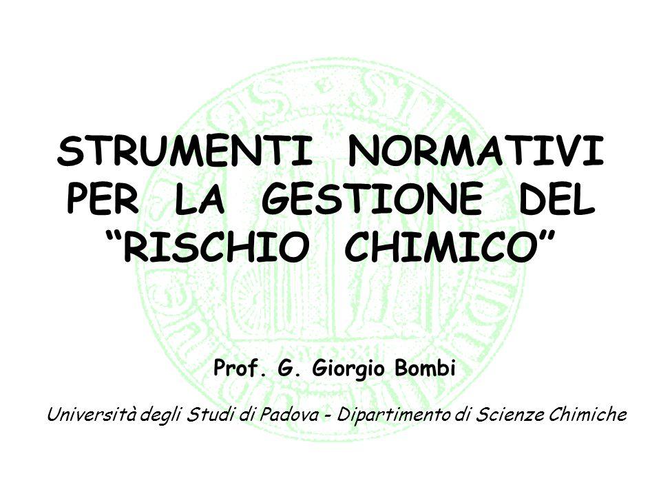 STRUMENTI NORMATIVI PER LA GESTIONE DEL RISCHIO CHIMICO Prof. G. Giorgio Bombi Università degli Studi di Padova - Dipartimento di Scienze Chimiche