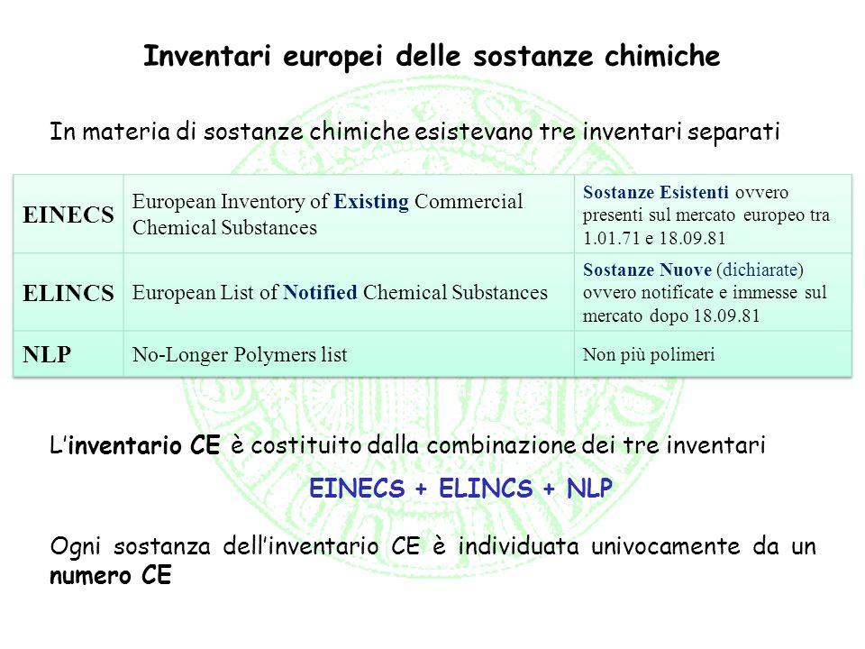 Inventari europei delle sostanze chimiche Linventario CE è costituito dalla combinazione dei tre inventari EINECS + ELINCS + NLP Ogni sostanza dellinv