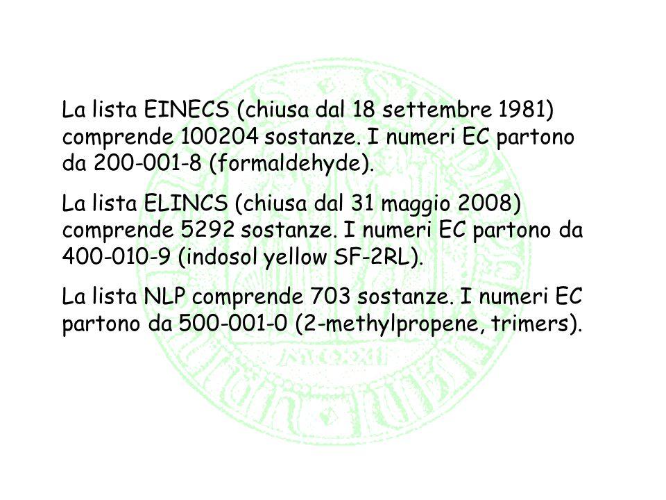 La lista EINECS (chiusa dal 18 settembre 1981) comprende 100204 sostanze. I numeri EC partono da 200-001-8 (formaldehyde). La lista ELINCS (chiusa dal