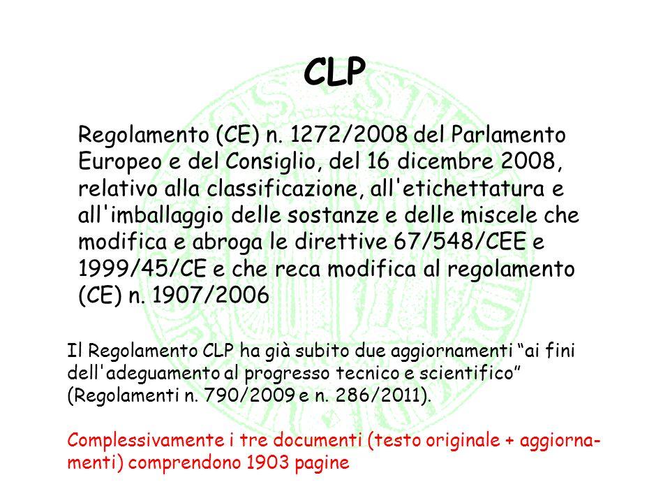 CLP Regolamento (CE) n. 1272/2008 del Parlamento Europeo e del Consiglio, del 16 dicembre 2008, relativo alla classificazione, all'etichettatura e all