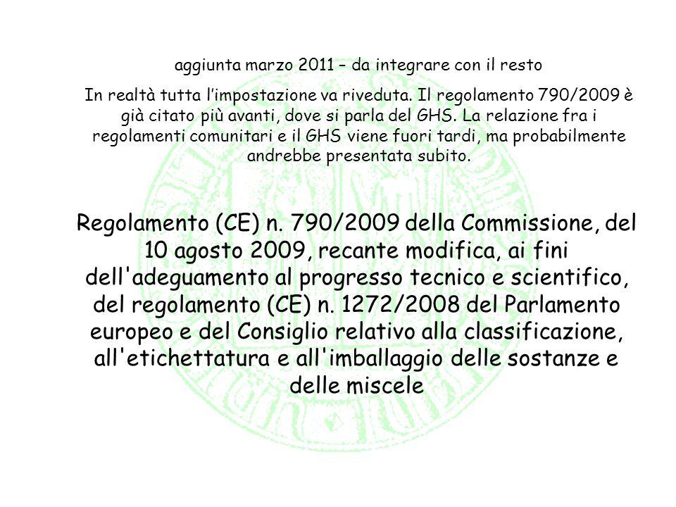 aggiunta marzo 2011 – da integrare con il resto In realtà tutta limpostazione va riveduta. Il regolamento 790/2009 è già citato più avanti, dove si pa