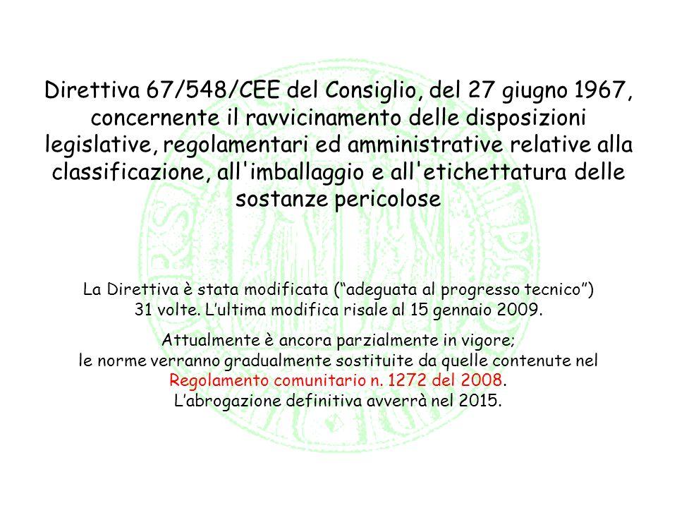 Direttiva 67/548/CEE del Consiglio, del 27 giugno 1967, concernente il ravvicinamento delle disposizioni legislative, regolamentari ed amministrative