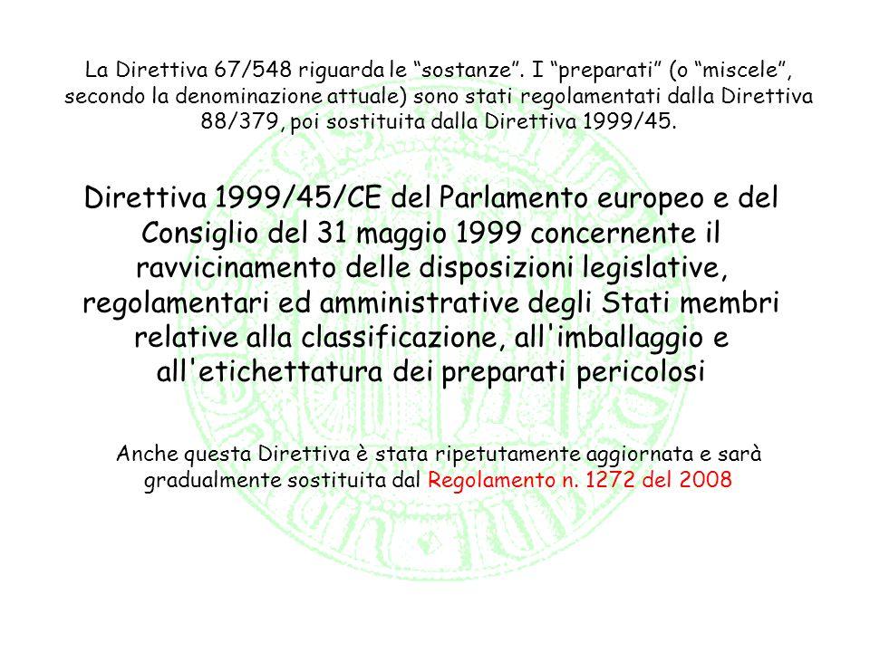 Direttiva 1999/45/CE del Parlamento europeo e del Consiglio del 31 maggio 1999 concernente il ravvicinamento delle disposizioni legislative, regolamen