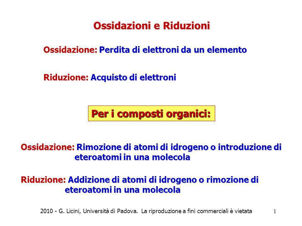 Ossidazioni e Riduzioni Ossidazione: Perdita di elettroni da un elemento Riduzione: Acquisto di elettroni Per i composti organici: Ossidazione: Rimozi