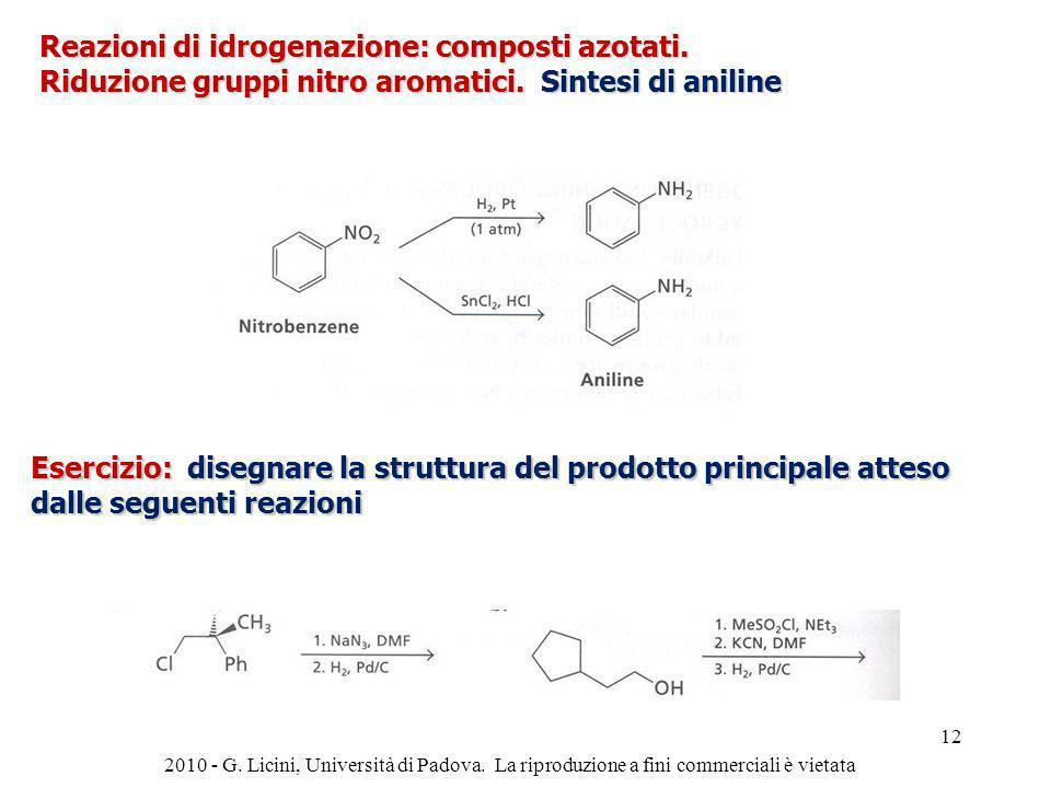 Reazioni di idrogenazione: composti azotati. Riduzione gruppi nitro aromatici. Sintesi di aniline Esercizio: disegnare la struttura del prodotto princ