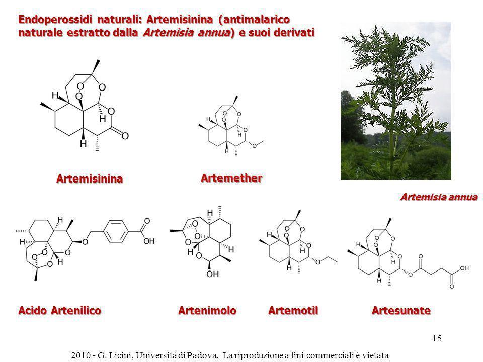 Acido Artenilico Endoperossidi naturali: Artemisinina (antimalarico naturale estratto dalla Artemisia annua) e suoi derivati Artemisinina Artemether A