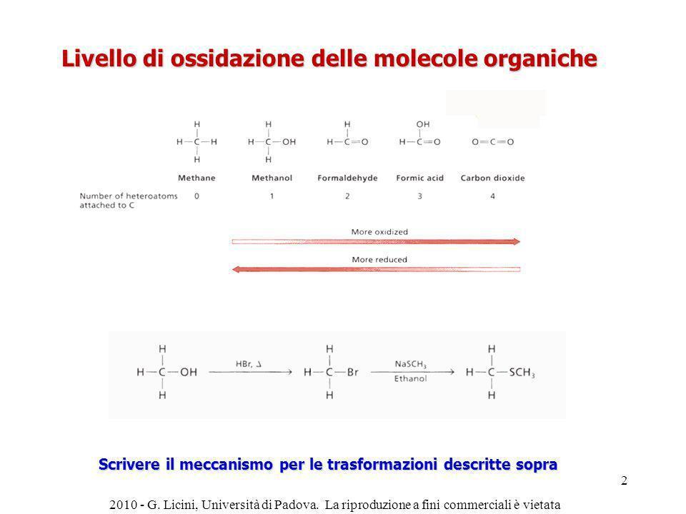 Livello di ossidazione delle molecole organiche Scrivere il meccanismo per le trasformazioni descritte sopra 2010 - G. Licini, Università di Padova. L