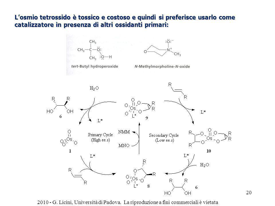 Losmio tetrossido è tossico e costoso e quindi si preferisce usarlo come catalizzatore in presenza di altri ossidanti primari: 2010 - G. Licini, Unive