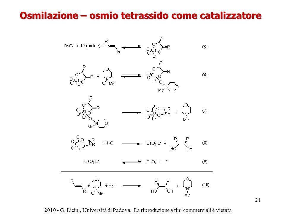 Osmilazione – osmio tetrassido come catalizzatore 2010 - G. Licini, Università di Padova. La riproduzione a fini commerciali è vietata 21