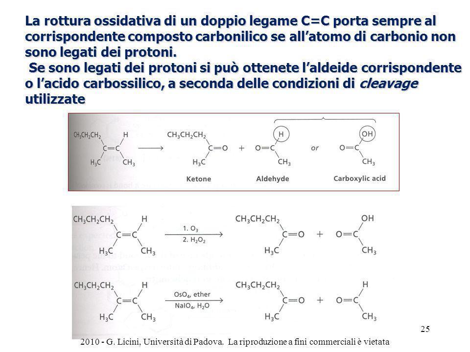 La rottura ossidativa di un doppio legame C=C porta sempre al corrispondente composto carbonilico se allatomo di carbonio non sono legati dei protoni.