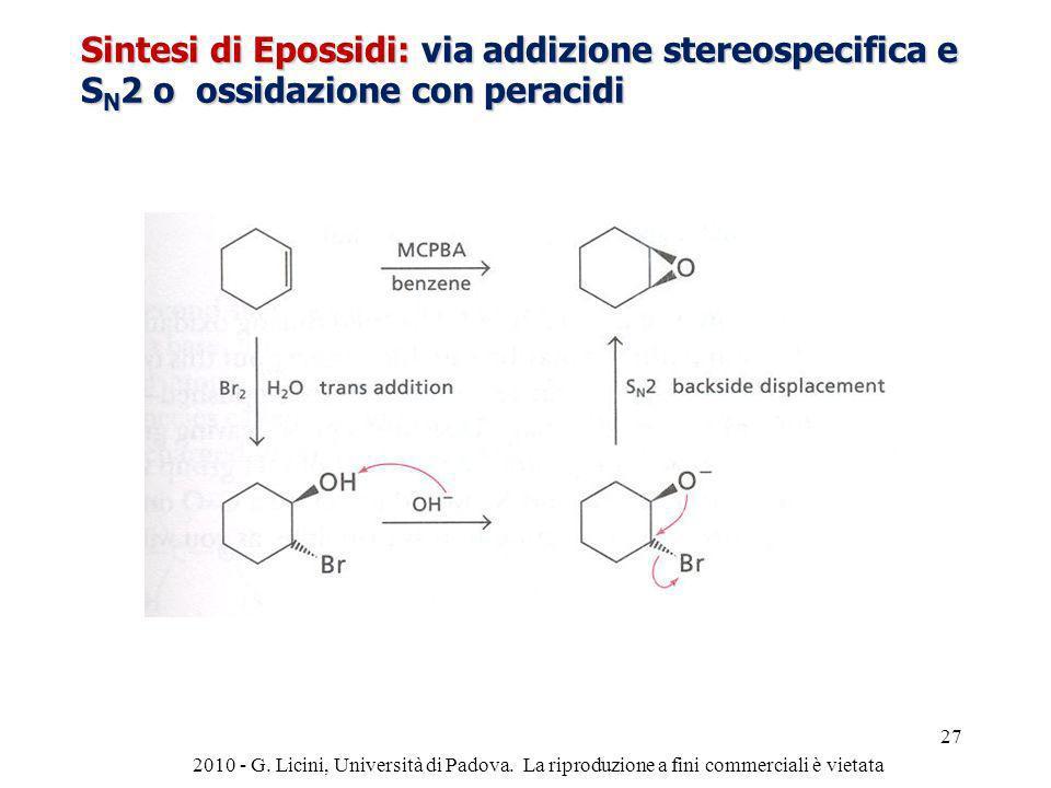 Sintesi di Epossidi: via addizione stereospecifica e S N 2 o ossidazione con peracidi 2010 - G. Licini, Università di Padova. La riproduzione a fini c