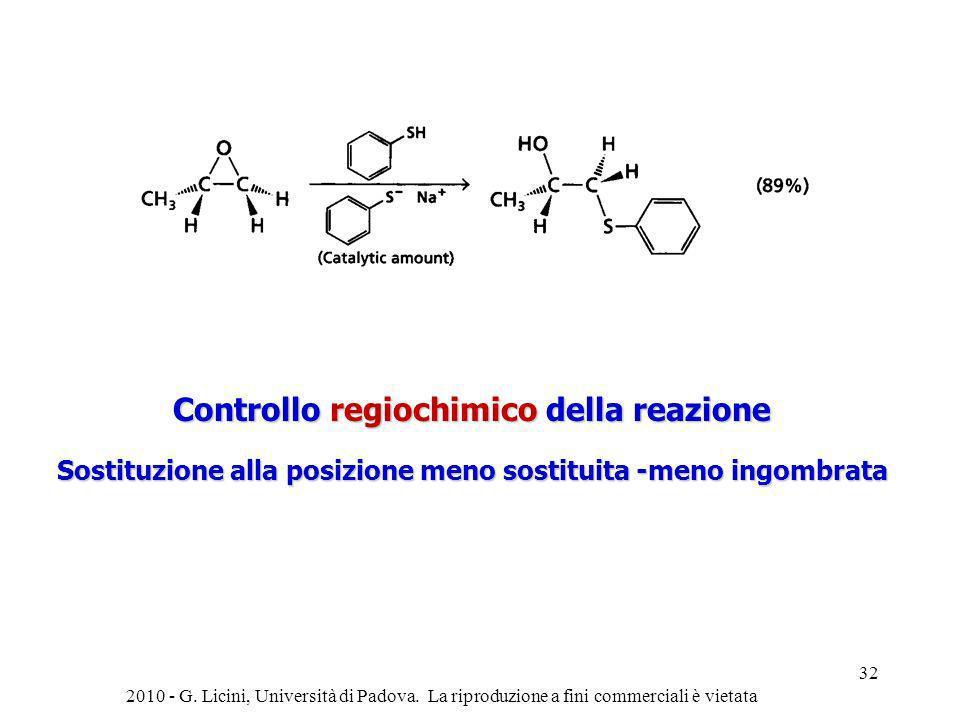 Controllo regiochimico della reazione Sostituzione alla posizione meno sostituita -meno ingombrata 2010 - G. Licini, Università di Padova. La riproduz