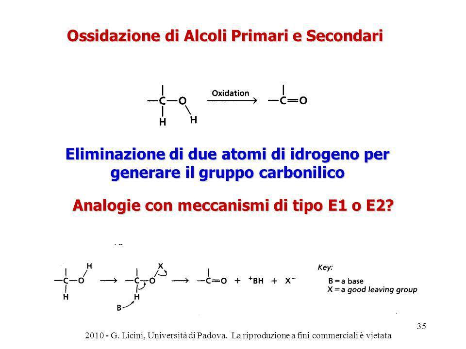Ossidazione di Alcoli Primari e Secondari Eliminazione di due atomi di idrogeno per generare il gruppo carbonilico Analogie con meccanismi di tipo E1