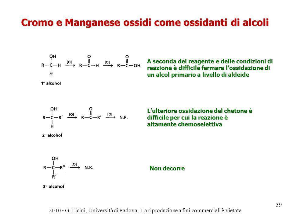 Cromo e Manganese ossidi come ossidanti di alcoli A seconda del reagente e delle condizioni di reazione è difficile fermare lossidazione di un alcol p