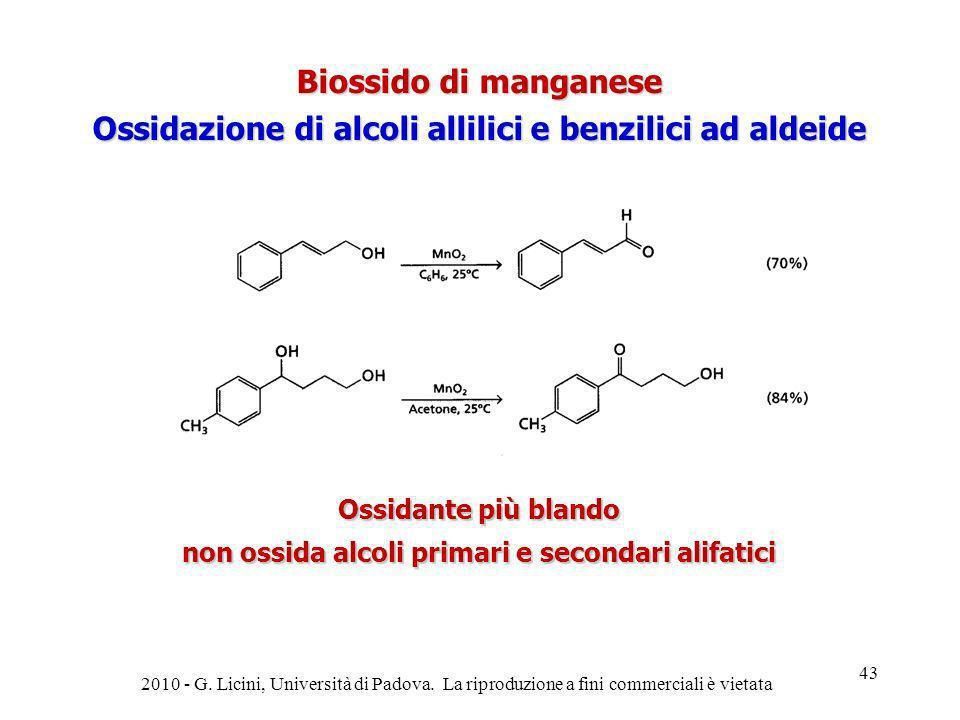 Biossido di manganese Ossidazione di alcoli allilici e benzilici ad aldeide Ossidante più blando non ossida alcoli primari e secondari alifatici 2010